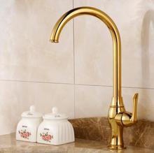 Кухонный кран Золотой Медь водопроводной воды холодной и горячей кран Раковины Растительное стиральная бассейна раковина смеситель 360 градусов вращающийся кран