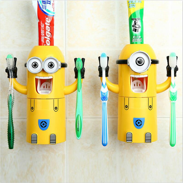 2016 Hot Selling Automatic Toothpaste Dispenser Tooth Cup Toothbrush Holder Sucker Yellow Minion  Wash Suit Tumbler