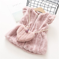 0-6 years 2017 autumn winter fashion Solid warm kid children baby girl clothing jacket outerwear coat baby girl vest with bag