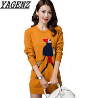 Women S Pullover Sweaters Korean Loose Long Sleeve Cartoon Pattern Ladies Knitted Sweater Dress Spring Casual