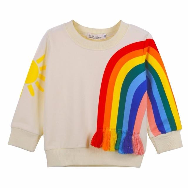 חדש הגיע בגדי ילדי חולצה לא ילד נערי נערות תינוק חולצת הטריקו עבור שרוול ארוך סתיו בני צמרות כותנה דפוס קשת שמש Te