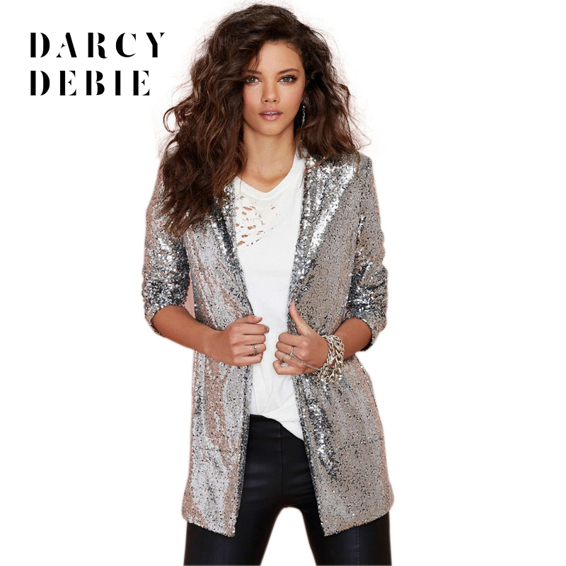 Darcydebie Autumn Fashion Women Silver Sequined Coats Turn-down Collar Long Sleeve Outwears Cardigan Jackets