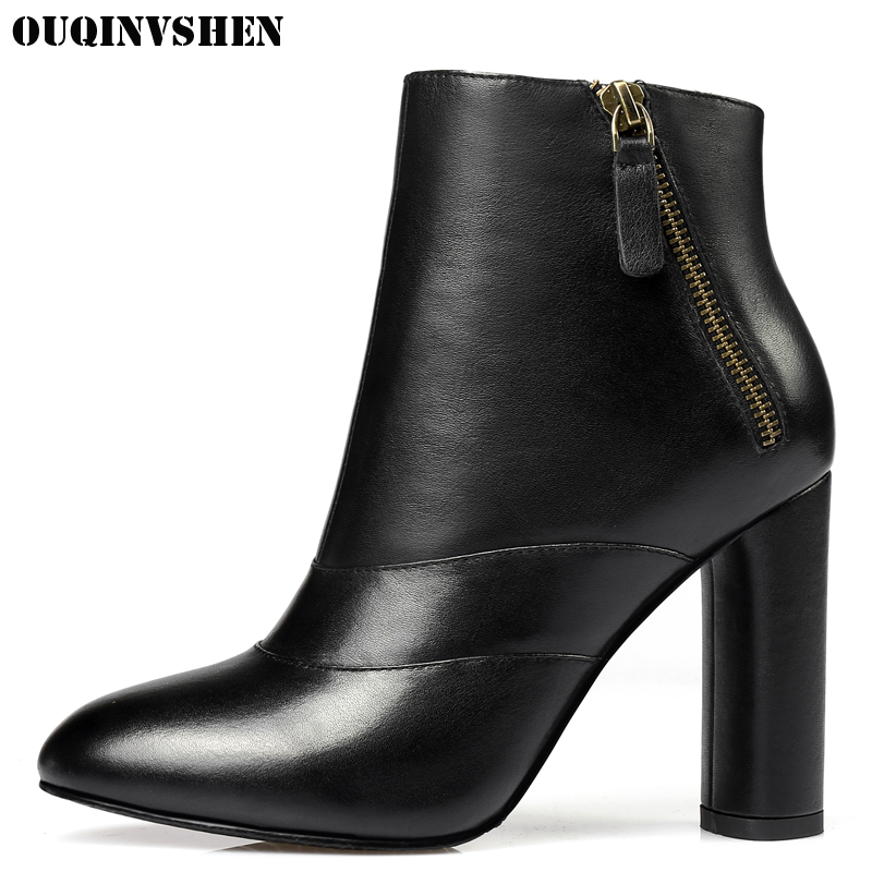 OUQINVSHEN Round Toe Square heel Women's Boots Casual Fashion Winter Solid High Heels Ankle Boots 2017 New Zipper Women Boots martins zip rubber thin heels high heel 2015 new arrive fashion sexy ankle boots adhesive adult rhinestone solid round toe
