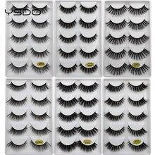 Faux cils en vison 3D, maquillage, épais, effet spectaculaire, volume nature, doux, 5 paires, g800