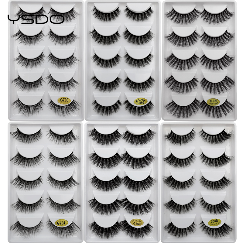 5 Pairs Mink Eyelashes 3D False Lashes Winged Thick Makeup Eyelash Dramatic Lashes Natural Volume Soft Fake Eye Lashes G800
