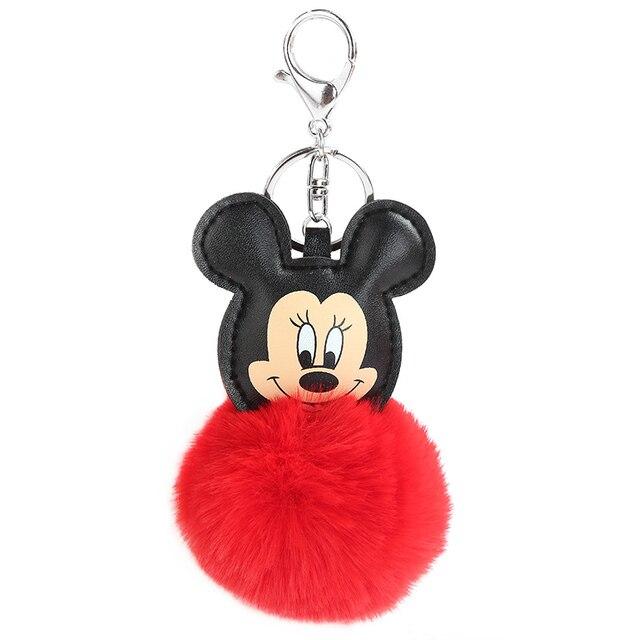 Fofo Buuny Pompon Pele Mickey Keychain Mulheres Faux Pele De Coelho Pom Pom Bola Mouse Encantos Chaveiro Saco de Carro Bugiganga presente de Ano novo