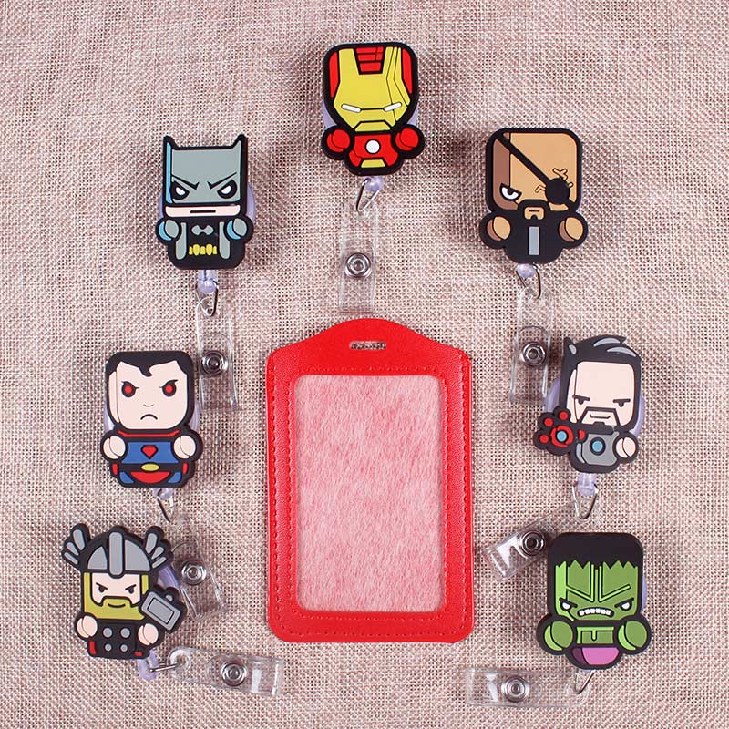 Hero Man The Badge Scroll Nurse Office Reel Cute Scalable Nurse Exhibition Entrance School Creative Boys Pu Card Name Tag Holder