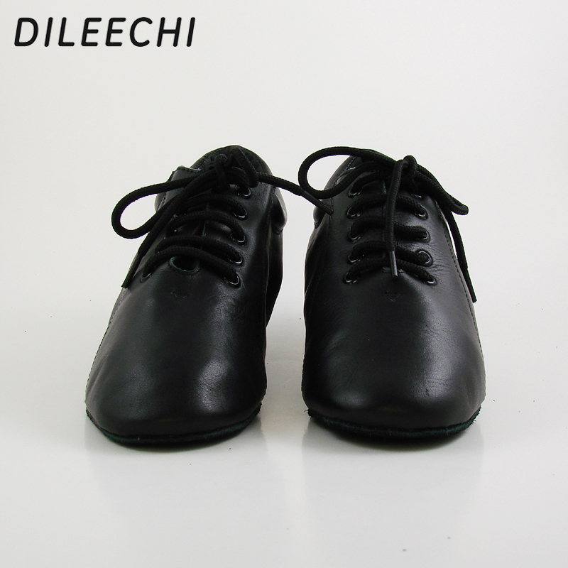 DILEECHI new Black Genuine leather Men's Latin dance shoes heel 4.5CM Size 28 46 Ballroom Dancing Shoes Customized large size-in Dance shoes from Sports & Entertainment    2