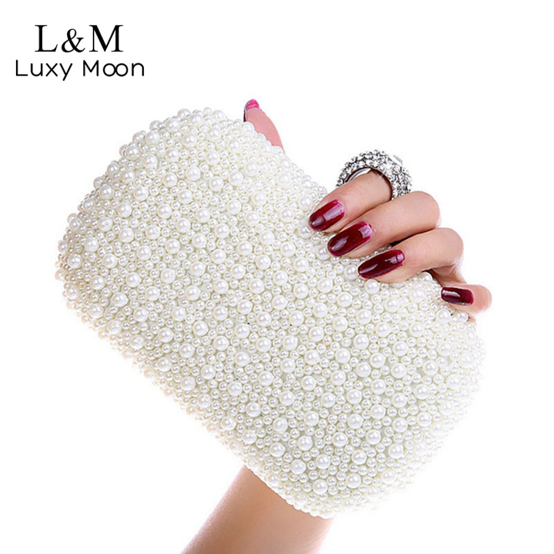 Elegant Ladies Pearl Beaded Evening Bag Diamond Ring Clutch Fashion Women Chain Hand Bags Wedding Dinner Party Purse bolso XA57H