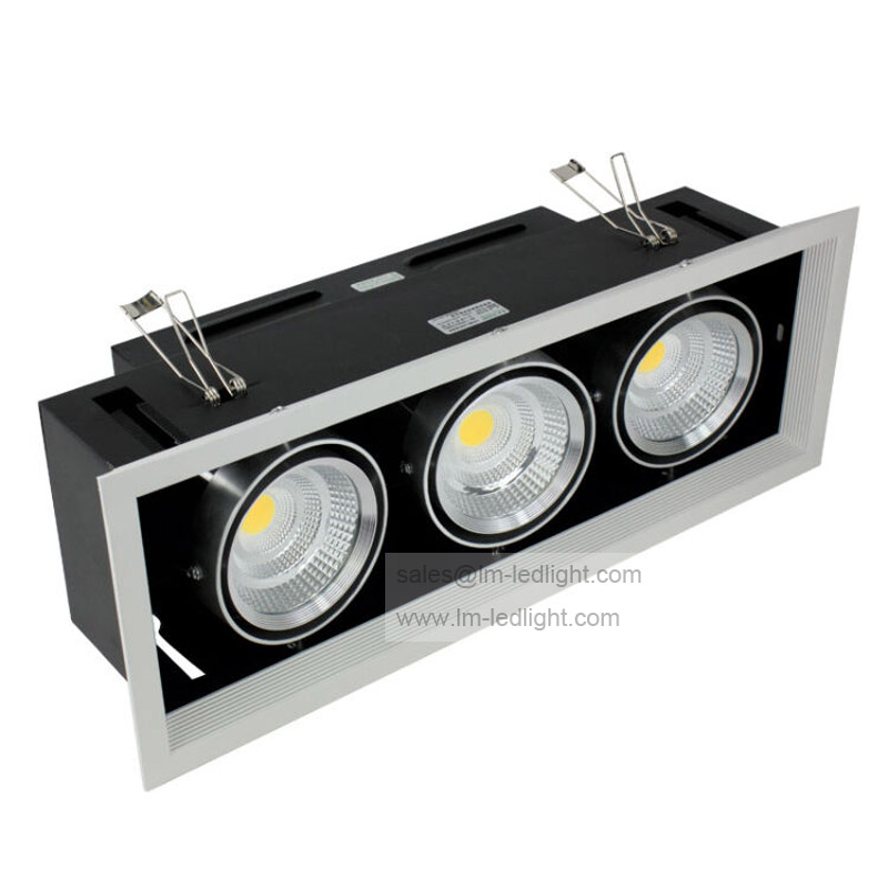 Dimmable AR80 3*10 W LED Bean pot luz 30 W COB LED Grille lámpara de ...