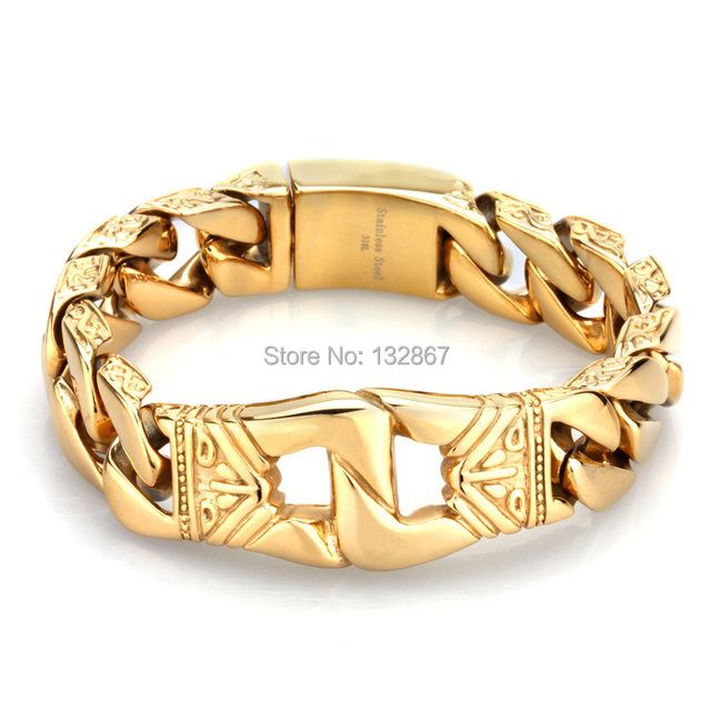 Top Selling 141g Heavy Fashion Mens Jewelry Stainless Steel  Gold Huge Link Chain Bracelet 8.5″ 18mm