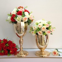 Shiny Gold Table Centerpiece Metal Flower Vases Wedding Props