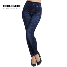 CHRLEISURE, с цветочным принтом, Джинсовые леггинсы, женские, модные, синие, тонкие, высокая талия, эластичные, большой размер, джинсы, леггинсы, джеггинсы, брюки