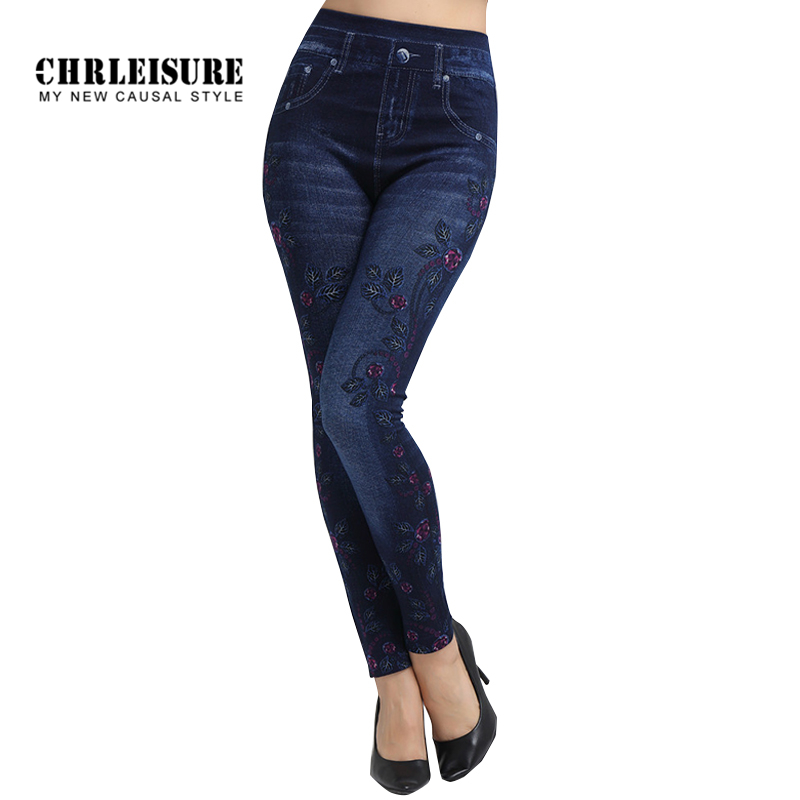 CHRLEISURE Flowers Print Denim Leggings Women Fashion Blue Slim High Waist Elasticity Large Size Jeans Leggings Jeggings Pants