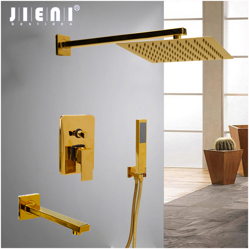JIENI 8 Inch Gold Plate Solid Brass Wall Ceiling Mount Rainfall Bathroom Shower Set Height Handheld