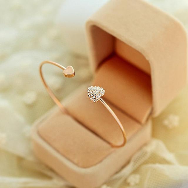 Adjustable Crystal Double Heart Bow Bilezik Cuff Opening Bracelet For Women Jewelry