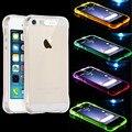 СВЕТОДИОДНАЯ Вспышка Крышка из Прозрачного Случай для iPhone 6 6 s Coque Кристалл Противоударный Назад Телефон Обложка Сумка Для Iphone 6 6 s Plus 5 5S SE Капа