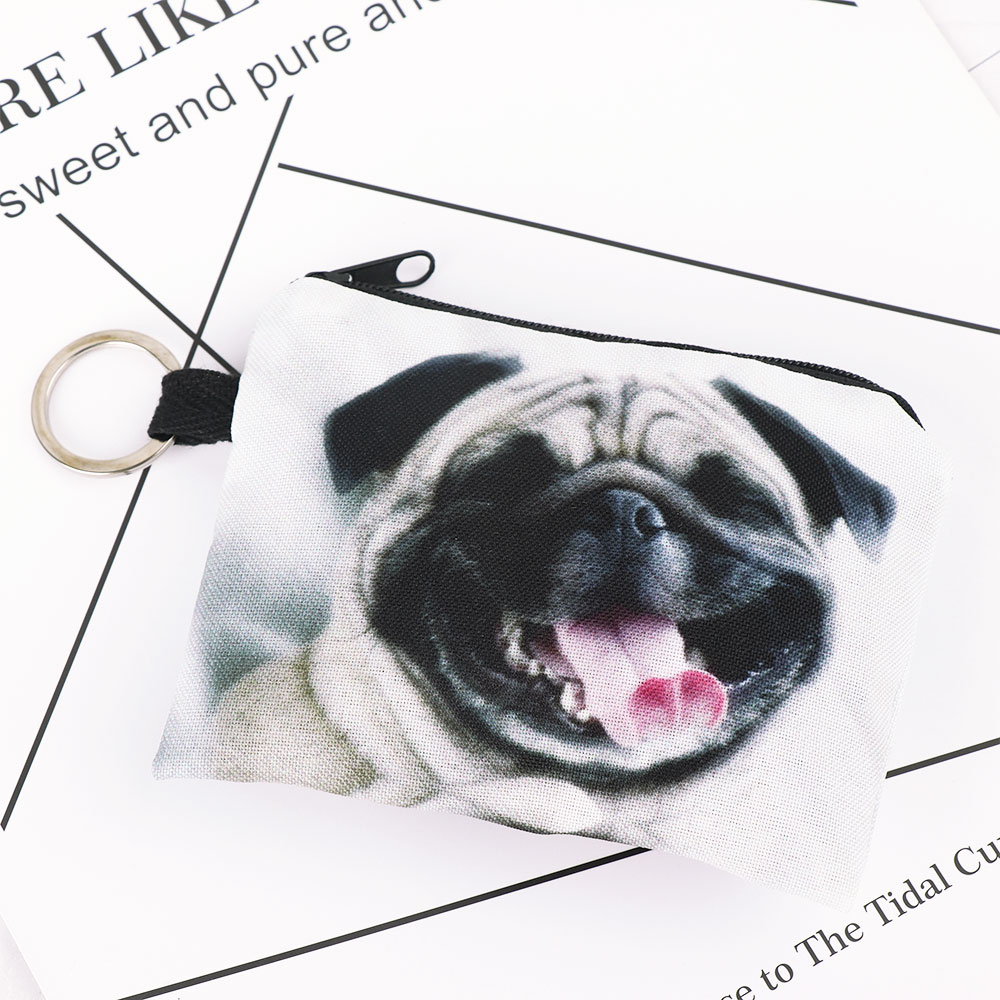 1 Pcs Kleine Nette Kinder Frauen Cartoon Mops Hund Design Frauen Mädchen Geldbörse Brieftasche Kopfhörer Karte Schlüssel Lagerung Tasche