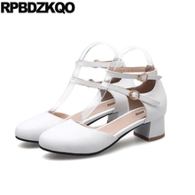 Ladies 12 44 11 43 Size 33 Chunky Big Women Fashion 2017 Summer Shoes Sandals Round Toe Customized Ankle Strap White Cross High