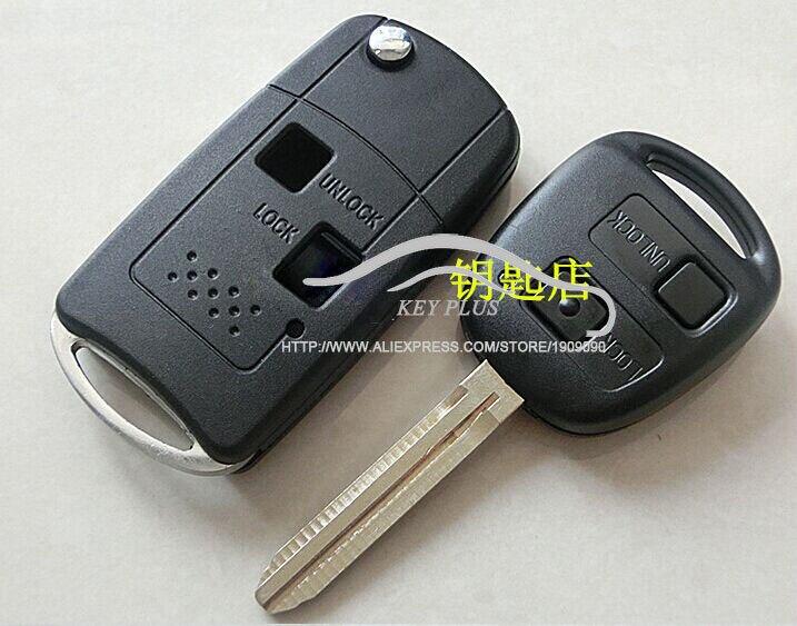 Geändert Flip Schlüsseloberteil 2 Tasten Für Toyota FJ Land Cruiser Camry Previa Prado Ville Fob Fall Funkschlüssel abdeckung