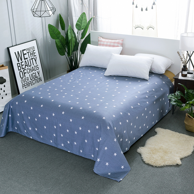 Superb Cotton Cartoon Flat Sheets King Size Pretty Stars Stripe Rective Printed Bed  Sheets Queen Size Bed