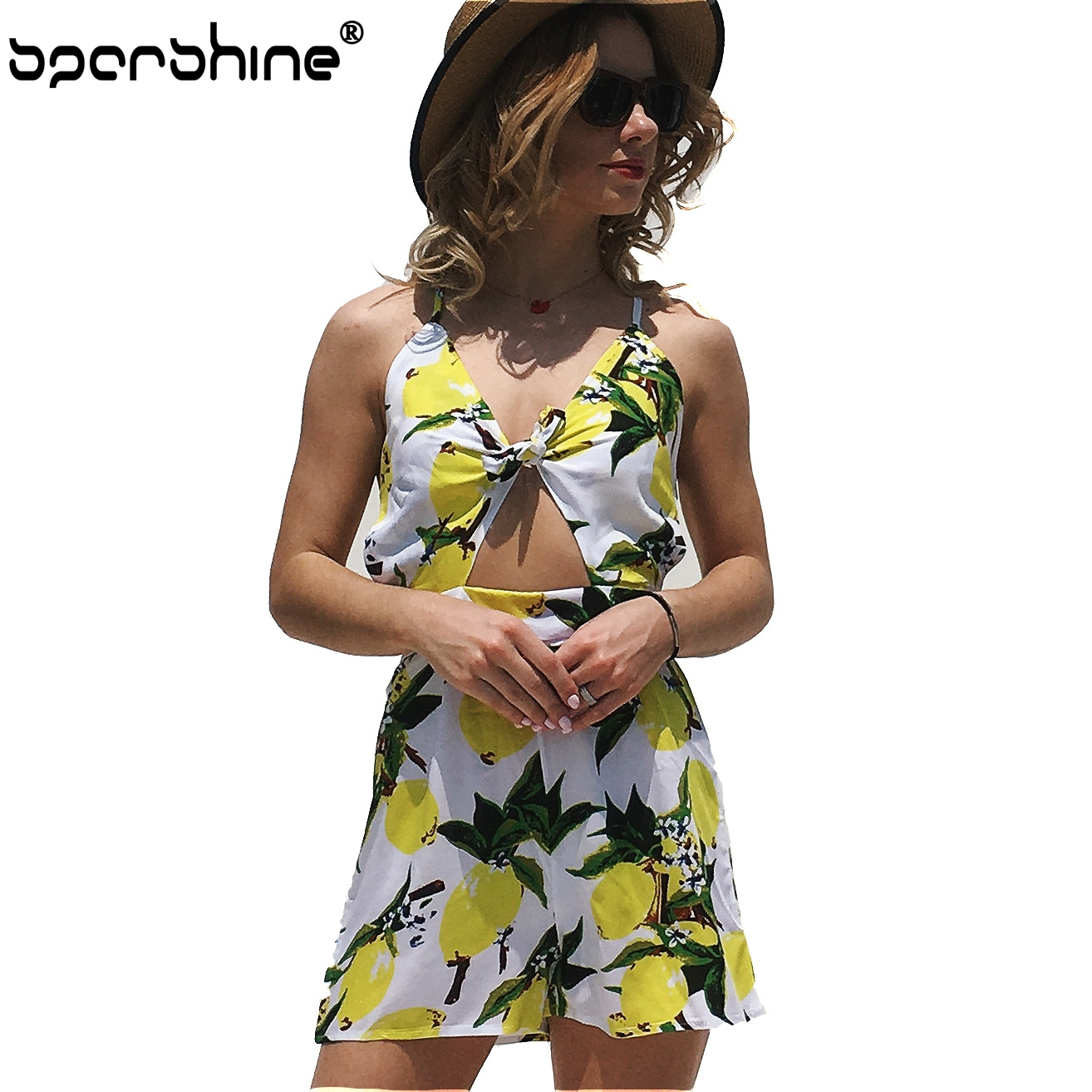 New V Neck Women Lemon Print Ladies Tie Bow Holiday Jumpsuit Shorts Pagliaccetto Loose Fitness Cotton Spring 2018 Hot Sell