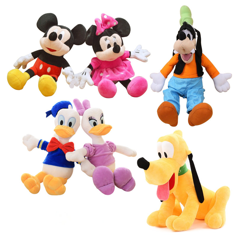 цена на 7 Styles Hot Cartoon Mickey Minnie Plush Animals Toys Stuffed Donald Duck Daisy Goofy Dog Pluto Dog Doll Toys Kids Girls Gifts