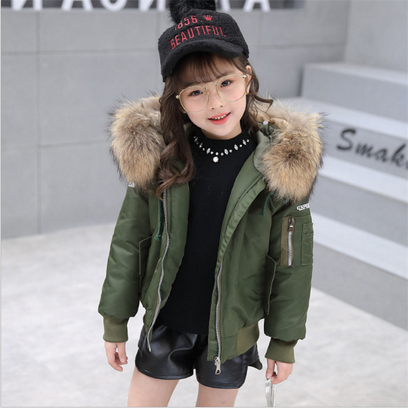 2017 Winter Girls Coat Parkas Wadded Jacket Fashion Big Fur Collar Cotton Jackets Outerwear 120-160 High Quality перчатки 1azaliya перчатки