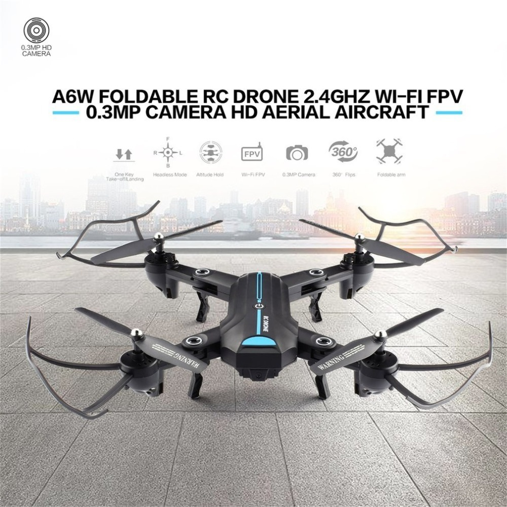 A6W Foldable RC Drone 2.4GHz WiFi FPV with 0.3MP Camera Live Video Aircraft RTF Quadcopter Gravity Sensor Altitude Hold HeadlessA6W Foldable RC Drone 2.4GHz WiFi FPV with 0.3MP Camera Live Video Aircraft RTF Quadcopter Gravity Sensor Altitude Hold Headless