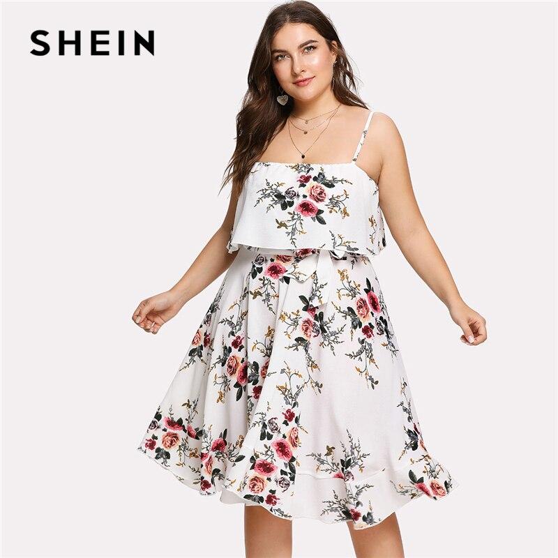 SHEIN Double Layer Botanical Cami Dress 2018 Summer Sleeveless Spaghetti Strap Knee Length Dress Women Plus Size Beach Dress