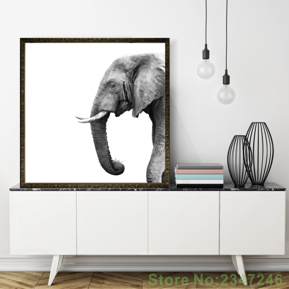 Minimalist Nordic Elephant Canvas Painting Black And White Painting Wallpaper and Poster for Living Room Bedroom Decoration african elephant