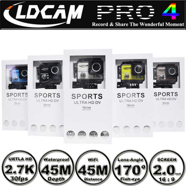 US $69 0 |New Arrival in 2016 4K /2 7K LDCAM PRO4 WIFI Sport Camera  Waterproof 45meters 170degree Camera Action camera-in Consumer Camcorders  from