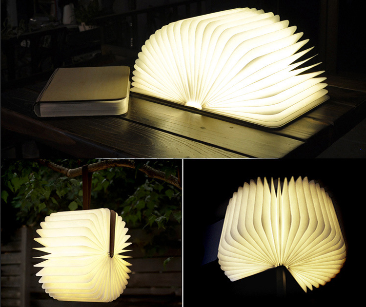 Free shipping Creative Wooden Foldable Foldable Pages Led Book Shape Night Light Lighting Portable Booklight Usb