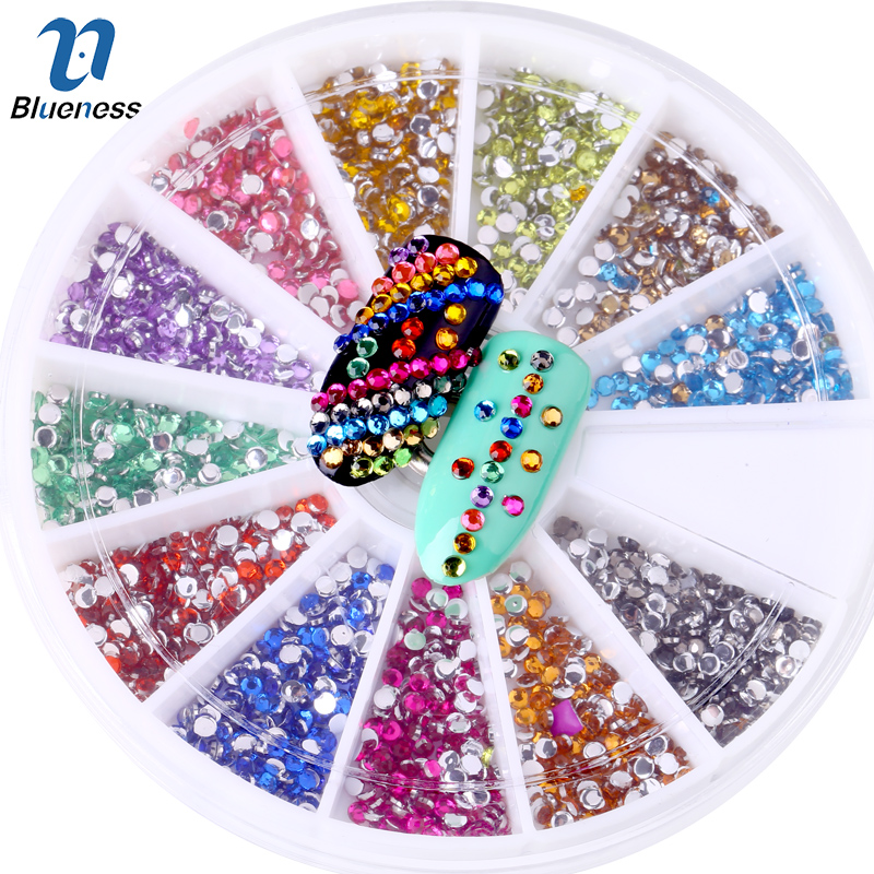 Blueness 1Wheel 12Colors Acrylic 2mm Nails Art Rhinestones Decorations For Nails UV Gel Polish Manicure DIY Crystal Studs ZP047 tactical qd riflescope 3 9x42eg laser sight hunting rifle scope red green dot illuminated telescopic sight riflescopes