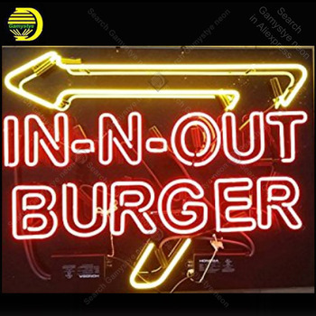 Neon light sign In out Burger Beer room Window Neon Lamp sign Restaurant display glass tubes Letrero lights enseigne Handcraf