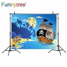 Funnytree fundo para estúdio de fotografia lua mar veleiro do Tesouro do pirata dos desenhos animados crianças fotografia cenário photobooth photocall