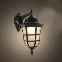 European vintage bronze aluminum villa waterproof outdoor wall lamp American retro scrub glass E27 LED bulb corridor lamp
