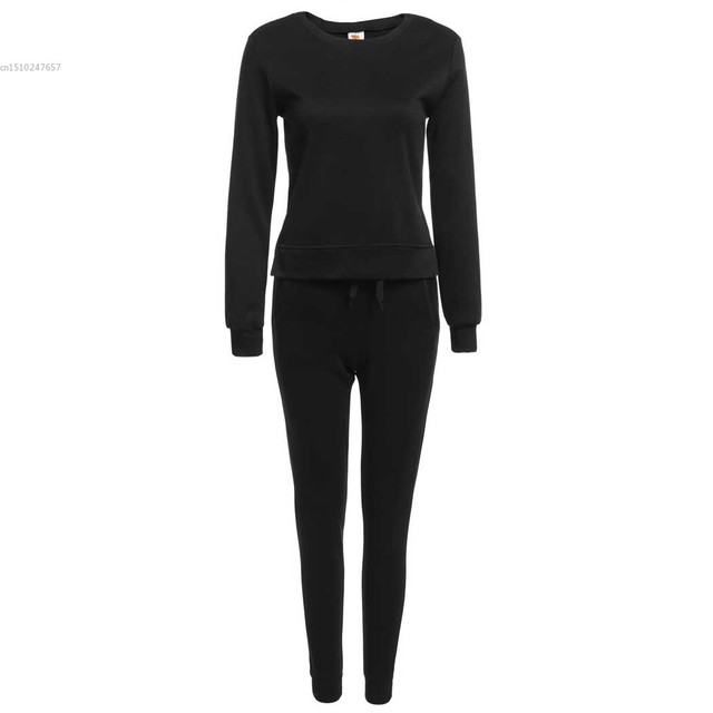 New Fashion Women Casual Long Sleeve Solid Irregular Sweatshirts with Pants Sportwear Set