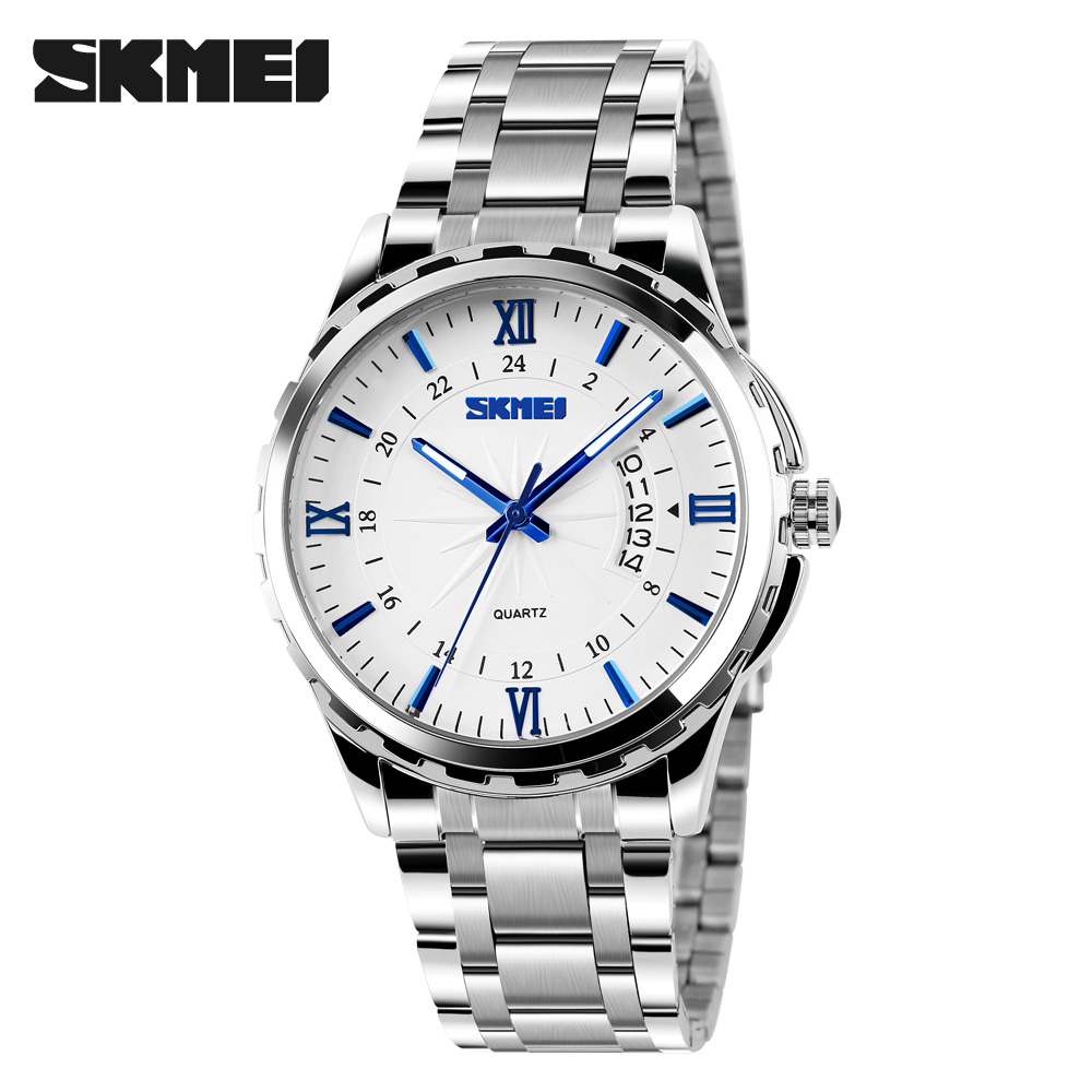 SKMEI Luxury Brand Full Stainless Steel Analog Display Date Men's Quartz Watch Casual Business Watches Men Wristwatches men quartz watches top brand skmei full stainless steel analog display fashion men s sport casual watch waterproof man watches