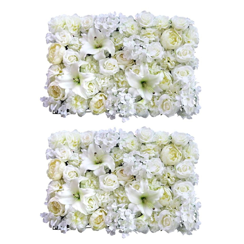 2pcs Artificial Rose Peony Lily Flower Wall Panels Wedding Venue Decor