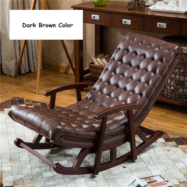 Moderne Leder U0026 Holz Schaukel Sessel Sessel Wohnzimmer Schlafzimmer Möbel  Bequeme Entspannen Rocker Stuhl