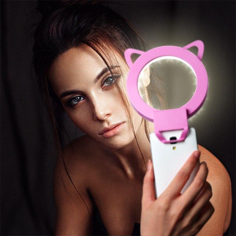 만화 클립 온 전화 LED Selfie 반지 빛 밤 암흑 Selfie 강화 사진 아이폰에 대 한 플래시 램프 삼성 스마트 폰