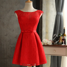 FOLOBE Red Lace Womens Dresses Mini Formal Dresses A-Line Elegant Lace Women Wedding Formal Girls Prom Party Dress
