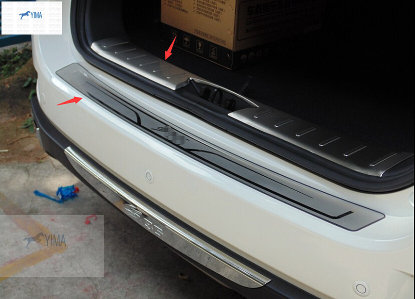 Stainless Steel Inside Outside Rear Bumper Protector Sill Plate 2 pcs For Changan cs35