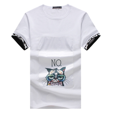 New Special Design Men T Shirts 2017 Summer Fashion Cat Print Casual T-Shirt Patch O Neck Cotton Tshirt Plus Size 4XL 5XL