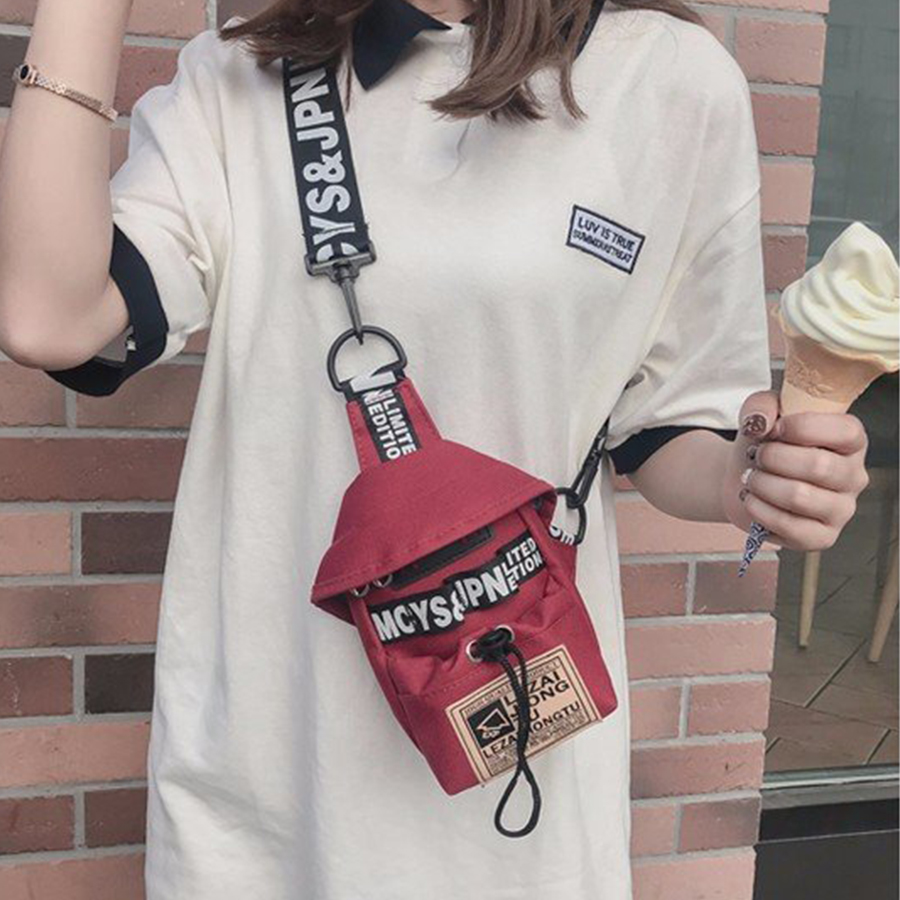2019 Harajuku Nylon Printed Women Shoulder Messenger Bag Personal  Wide Shoulder Strap Mobile Phone Bag Hip Hop Chest Bag Purse
