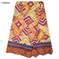 Pretty design african wax lace fabric/nigerian wator soluble high quality orange african wax lace fabric for lady dress L76DH034