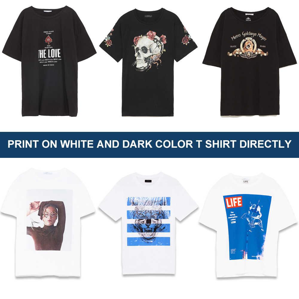 Jetvinner A3 Ukuran Digital DTG Garment Printer Ini Diatas untuk Mencetak Gelap Warna Cahaya Flatbed Printer untuk T SHIRT Pakaian Telepon kasus