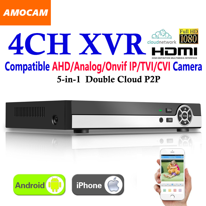 New 4CH Super XVR All HD 1080P 5-in-1 DVR CCTV Surveillance Video Recorder HDMI output with AHD/Analog/Onvif IP/TVI/CVI Camera voxlink ahd tvi cvi video converter full hd 1080p tvi cvi ahd signal to cvbs vga hdmi hd video converter for cctv cameras