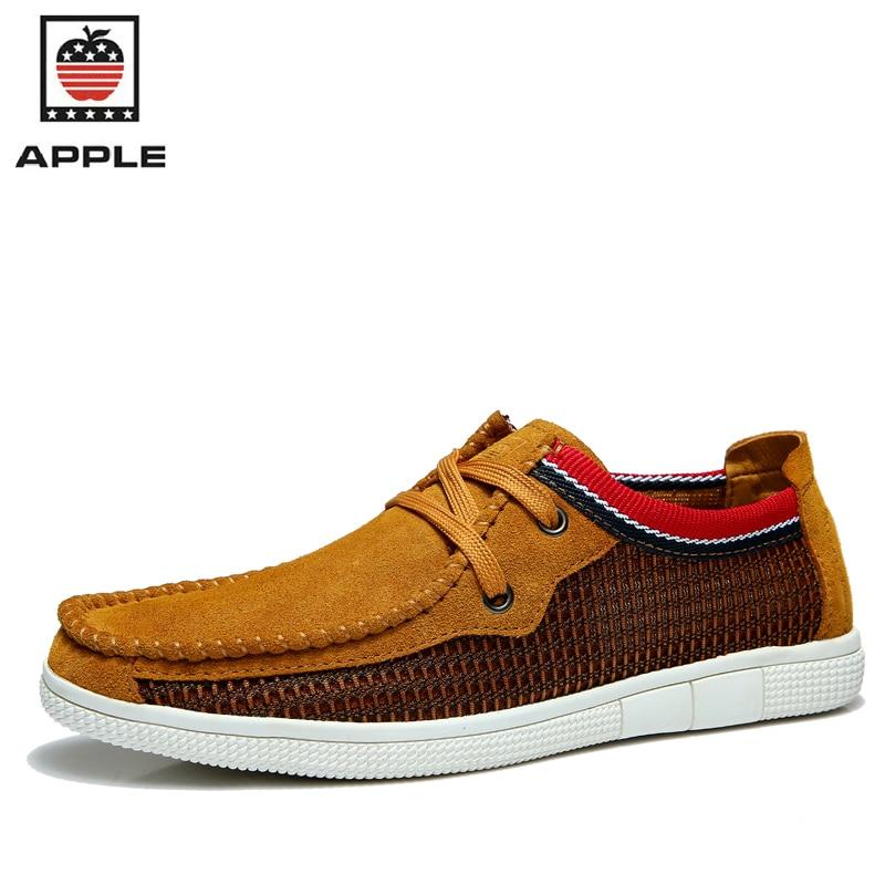Prix pour Apple 2017 vente chaude vache suede mesh semelle en caoutchouc hommes de planche à roulettes Chaussures Printemps Automne Hiver Dentelle Up Style Hommes Sneakers AP-1515